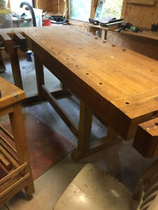 woodworking bench -- maple slab & vices