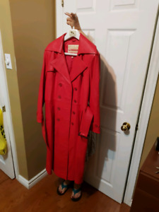 Size 40 European red trench coat pure leather jacket