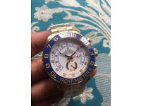 New gold and blue rolex yachtmaster II watch