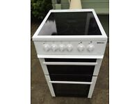 BEKO FREE STANDING ELECTRIC COOKER SINGLE OVEN & GRILL & CERAMIC HOB 50cm Wide - Collect BD11 VGC