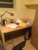 Desk with drawer and chair