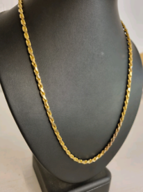 9ct gold solid rope chain long length