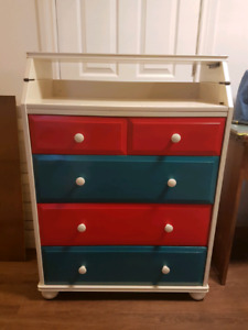 Dresser with change table and bookcase