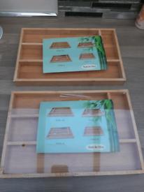Bamboo cutlery trays