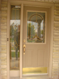 Front Door With Decorative Glass and Matching Side Light