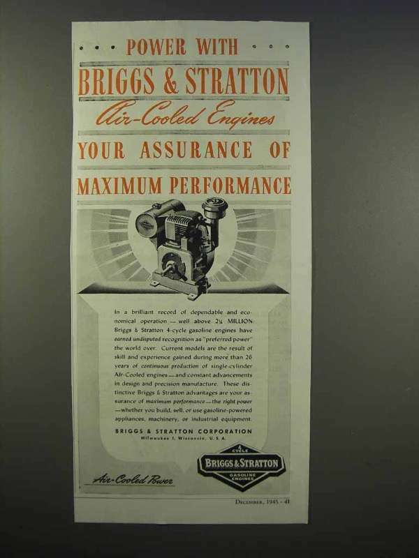 1945 Briggs & Stratton Air-Cooled Engine Ad