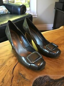Nine West Brown/Grey Patton Leather Shoes