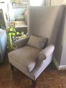 REDUCED- Modern Grey Wingback Chair