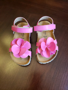 Leather Pink Flower Toddler Sandals (made in Italy) - size 11