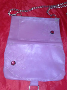 Luxury Baby Pink Flap Classic Vintage long Chain Purse -FLOWERS