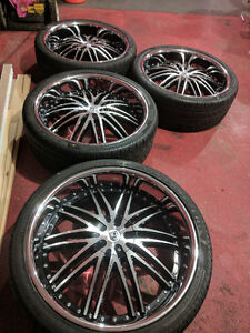 """26"""" inch Lexani LX-10 rims and Pirelli tires for Ford F-150"""