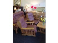 Leather sofa and 2 chairs (one is a rocking chair) free delivery