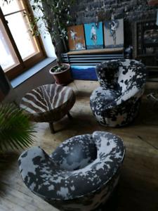 2 x animal print swivel chairs