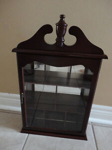 Decorative wooden curio display cabinet wall hanging glass front