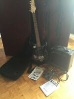 Electric yamaha guitar pedal without dc plug and amplifier