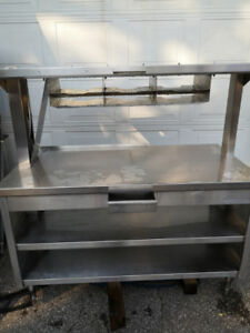 Table counter prep area stainless steel
