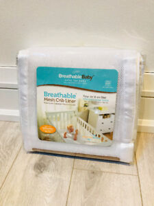 Breathable Baby Safer Bumper, Fits All Cribs (White)