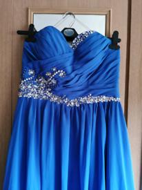 Stunning PROM DRESS UK12 evening ball gown beaded maxi blue silver