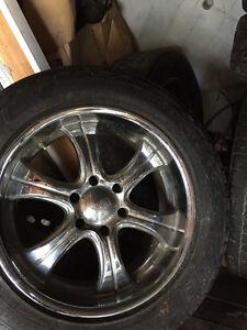 "20"" boss chrome wheels and tires off a 6 bolt GMC"