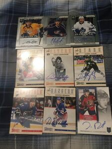 9 Different Autographed Hockey Cards - Mint