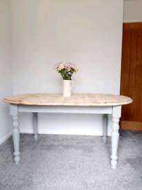 Solid pine farmhouse style extending dining table