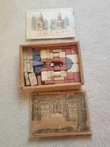 Vintage Richter's Anchor Toy Stone Building Blocks in Wood Case