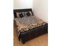 Black Leather Effect Double Bed