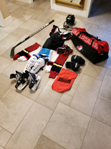 For sale, complete set of youth girls hockey equipment