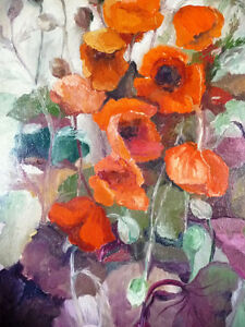 "Bright Floral Oil Painting by J. K. ""Study Of Flowers"" 1950's Stratford Kitchener Area image 10"