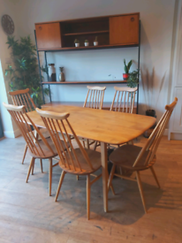 Mid century Ercol Plank dining table and 6 Goldsmith dining chairs