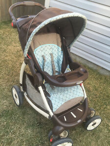 graco stylus  blue and brown stroller