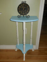 BLUE AND WHITE ACCENT TABLE