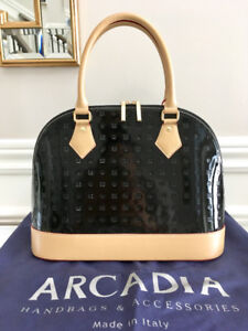 New with Tag Arcadia Black Camel Leather Monogram Tote Handbag