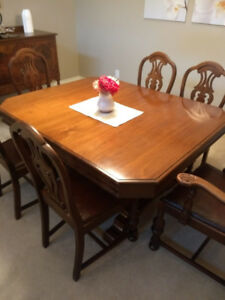 Antique walnut dining room set.