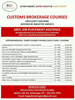 CUSTOMS RATER COURSE WEEKENDS IN BRAMPTON