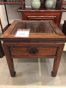 Dark Brown Wooden Framed Glass To Side Table With Storage