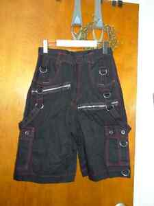 Black cargo shorts with red trim stitching