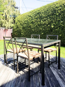SET TABLE DINER: Tables+4 Chaises - Metal/Verre - IKEA