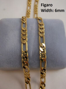 10K Gold Filled Figaro 6mm Thick Chain – 26 inch