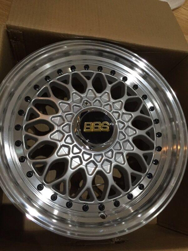 "15"" silver 7j bbs rs et35 4x100 4x114.3 alloy wheels VW ..."