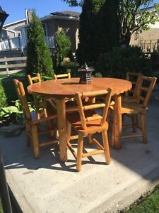 Natural wood rustic dinning table 6 chair
