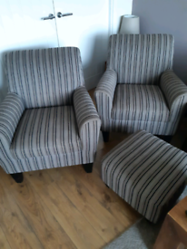 Two next chairs and footstool £60 no offers