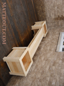New Cedar garden bench with two flowerpots
