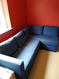 Blue IKEA Corner Sofa /Double bed
