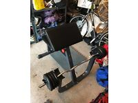 Preacher bench (commercial) and 50kg cast iron weights ez bar