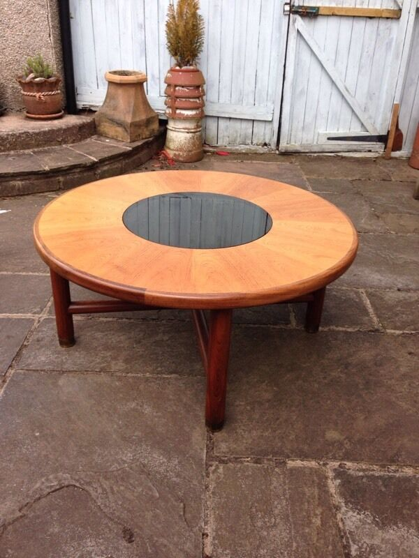 Vintage Retro Mid Century Teak Smoked Glass Brass Round G Plan Coffee Table