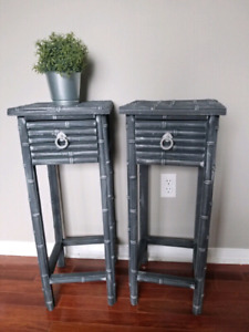Dark grey tall side tables refinished