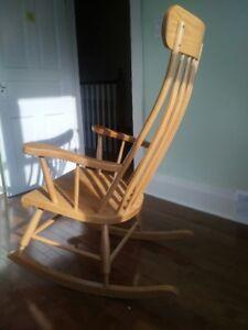 Mennonite golden oak highback rocking chair