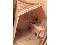 Dream Town rose petal cottage playhouse and kitchen