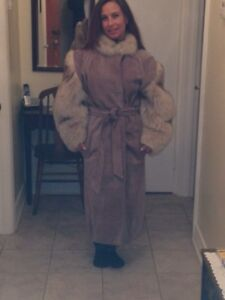 3/4 leather/ fur dress coat for sale